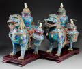 Asian:Chinese, A Pair of Chinese Cloisonne Lion-Form Triple-Vase Censers. 21-1/8 hx 20-1/2 w x 8-5/8 d inches (53.7 x 52.1 x 21.9 cm) (eac... (Total:4 Items)