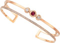 Estate Jewelry:Bracelets, Ruby, Diamond, Rose Gold Bracelet. ...
