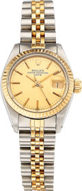Estate Jewelry:Watches, Rolex Lady's Gold, Stainless Steel Oyster Perpetual Date Watch. ...