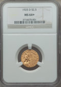 1925-D $2 1/2 MS64+ NGC. NGC Census: (3678/1017 and 96/26+). PCGS Population: (2598/677 and 163/36+). Bid for problem-fr...
