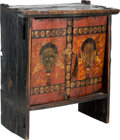 Asian:Other, A Tibetan Polychrome Wood Ritual Cabinet, 16th/17th century. 22-1/2h x 20-3/4 w x 9-3/4 d inches (57.2 x 52.7 x 24.8 cm). ...