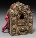 Asian:Other, A Tibetan Repoussé Mixed Metals Gau, 17th century. 7-7/8 h x 5-3/4w x 2-3/8 d inches (20.0 x 14.6 x 6.0 cm). ...