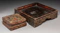 Asian:Other, A Tibetan Polychrome Wooden Box and Grain Tray, 18th-19th century.3-1/2 h x 12-1/2 w x 12-1/2 d inches (8.9 x 31.8 x 31.8 c...(Total: 2 Items)
