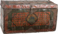 Asian:Other, A Tibetan Polychrome Leather Bound Leather Storage Box, 15thcentury. 15-5/8 h x 28-1/2 w x 13 d inches (39.7 x 72.4 x 33.0 ...