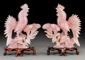 Asian:Chinese, A Pair of Chinese Carved Rose Quartz Roosters with Stands. 10-5/8inches high (27.0 cm). ... (Total: 2 Items)