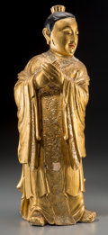 Asian:Chinese, A Chinese Giltwood Temple Watcher or Attendant Figure, late MingDynasty-early Qing Dynasty. 21-3/4 inches high (55.2 cm). ...