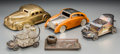 Decorative Arts, Continental:Other , Five Mixed Media Automobile-Form Inkwells, Boxes, and CondimentServers. 3-5/8 h x 9-1/4 w x 4-3/4 d inches (9.2 x 23.5 x 12...(Total: 5 Items)