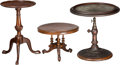 Decorative Arts, British:Other , Two Mahogany and Burlwood Miniature Tables with an English RegencyTelescopic Concave Dressing Mirror, 19th century a...