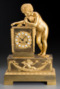 Clocks & Mechanical:Clocks, A French Empire-Style Gilt Bronze Figural Mantle Clock, circa 1845. 18 h x 11-5/8 w x 5-1/8 d inches (45.7 x 29.5 x 13.0 cm)...