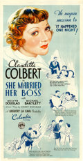 "Movie Posters:Comedy, She Married Her Boss (Columbia, 1935). Three Sheet (40.5"" X 80.5"")Style A.. ..."