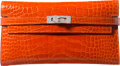 """Luxury Accessories:Bags, Hermes Shiny Orange H Alligator Kelly Long Wallet with Palladium Hardware. R Square, 2014. Condition: 3. 8"""" Width ..."""