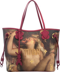 Louis Vuitton Limited Edition Masters Collection Pink Leather and Coated Canvas Titian Neverfull MM Bag by Jeff Koons