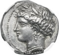 Ancients:Greek, Ancients: LUCANIA. Metapontum. Ca. 340-330 BC. AR stater (21mm,7.89 gm, 11h). NGC AU ★ 4/5 - 5/5....