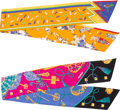 """Luxury Accessories:Accessories, Hermes Set of Two; Orange & Blue Silk Maxi Twilly Scarves. Condition: 2. 8"""" Width x 87"""" Length. 8"""" Width x 87"""" Len... (Total: 2 Items)"""
