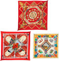 """Luxury Accessories:Accessories, Hermes Set of Three; Red & Beige Cotton and Silk PlisseScarves. Condition: 3. 36"""" Width x 36"""" Length. 36""""Width x... (Total: 3 Items)"""