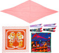 """Luxury Accessories:Accessories, Hermes Set of Seven; Pink, Red & White Silk Scarves. Condition:1. 36"""" Width x 36"""" Length. 28"""" Width x 28"""" Length.... (Total: 5 Items)"""