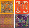 "Luxury Accessories:Accessories, Hermes Set of Four; 90cm Orange, Red & Gray Silk Scarves.Condition: 2. 36"" Width x 36"" Length. 36"" Width x36"" Le... (Total: 4 Items)"