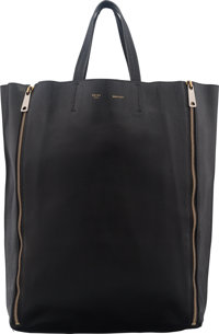 """Celine Black Leather Vertical Cabas Zip Tote Condition: 3 13"""" Width x 17"""" Height x 4"""" Depth</"""