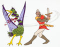 Animation Art:Production Cel, Dragon's Lair Dirk and Daphne Production Cel Group of 3 (DonBluth, 1983). ... (Total: 3 Items)