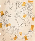 animation art:Model Sheet, Yogi Bear Early Model Sheet Original Art (Hanna-Barbera, 1958). ...