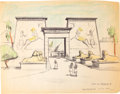 "Animation Art:Concept Art, Bible Storyland ""Gate of Rameses II"" ConceptHand-Embellished Print (1959). ..."
