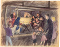 "Animation Art:Concept Art, Bible Storyland ""Nativity"" Concept Hand-Embellished Print(1959). ..."