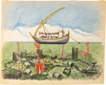 """Animation Art:Concept Art, Bible Storyland """"Dead Sea Boat Ride"""" ConceptHand-Embellished Print (1960). ..."""