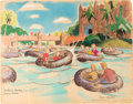 "Animation Art:Concept Art, Bible Storyland ""Reed Boats"" Concept Hand-Embellished Print(1959). ..."