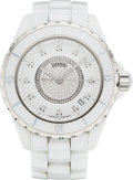 "Luxury Accessories:Accessories, Chanel 38mm White Ceramic & Diamond Automatic J12 Watch.Condition: 2. 1.5"" Width x 6.5"" Length. ..."