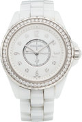 "Luxury Accessories:Accessories, Chanel 34mm White Ceramic & Diamond J12 Automatic Watch. Condition: 2. 1.25"" Width x 5.5"" Length. ..."