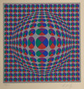 Fine Art - Work on Paper:Print, Victor Vasarely (French, 1906-1997). Small Spheres.Screenprint in colors. 8-1/8 x 8-1/8 inches (20.6 x 20.6 cm)(image)...