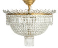 Art Glass:Other , A Baccarat Cut Crystal Perles Six-Light PlafonnierChandelier, France, late 20th century. 20-1/4 inches high x 2...