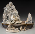 Asian:Chinese, A Chinese Earthenware and Scholar's Rock Figural Group. 14-3/4 h x17-1/2 w x 9-1/4 d inches (37.5 x 44.5 x 23.5 cm) (larges...