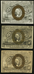 Fractional Currency:Second Issue, Three Friedberg Numbers 25¢ Second Issue.. ... (Total: 3 notes)