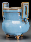 Asian:Chinese, A Chinese Jun-Type Ceramic Tripod Censer. 4-3/8 inches high x 4inches wide (11.1 x 10.2 cm). ...