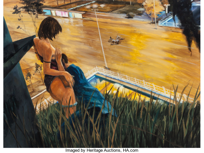 Fine Art - Painting, American, Zhou Zixi (Chinese, b. 1970). Sometimes young couples can'tcontrol passion, 2006. Oil on canvas. 63 x 47-1/4 inches (16...