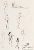 Fine Art - Work on Paper:Drawing, Norman Sasowsky (American, 20th Century). Figure Studies (threeworks), 1957. Ink on paper, each. 9 x 12 inches (22.9 x ...(Total: 3 Items)