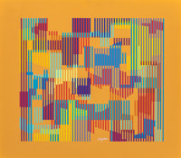 Yaacov Agam (Israeli, b. 1928) Symphony II Screenprint in colors on panel 18-1/2 x 20-1/2 inches