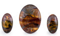 Gems:Cabochons, Tiger's Eye Cabochon Trio. Mt. Brockman Station.Pilbara. Western Australia. 2.96 x 2.21 x 0.44inches (7.52 x... (Total: 3 Items)