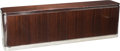 Furniture : Continental, A Large Art Deco Mahogany and Chrome Credenza, late 20th century.29 h x 96 w x 18 d inches (73.7 x 243.8 x 45.7 cm). PROV...