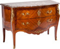 Furniture : French, A Louis XV-Style Mahogany, Tulipwood, and Kingwood Two-DrawerCommode with Marble Top, 19th century. 36 inches high x 51 inc...