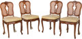 Furniture : French, Four Louis XV-Style Walnut, Caned and Upholstered Side Chairs, 19th century. 37-3/4 h x 18-1/4 w x 17 d inches (95.9 x 46.4 ... (Total: 4 Items)