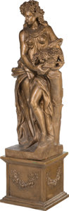 Decorative Arts, Continental, A Large Bronzed Terracotta Bacchante Figure on Pedestal. 74 h x 23w x 19-1/2 d inches (188.0 x 58.4 x 49.5 cm). ... (Total: 2 Items)