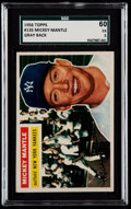 Baseball Cards:Singles (1950-1959), 1956 Topps Mickey Mantle (Gray Back) #135 SGC 60 EX 5....