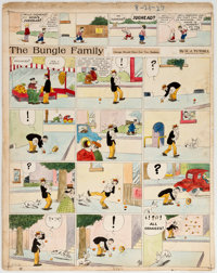 Harry Tuthill The Bungle Family Hand-Colored Sunday Comic Strip Original Art dated 8-21-27 (H. J. Tuthill, 1927)