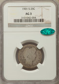 Barber Quarters: , 1901-S 25C AG3 NGC. CAC. NGC Census: (0/132). PCGS Population:(304/468). Mintage 72,664. ...