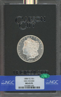 1884-CC $1 GSA MS65 Prooflike NGC. CAC. NGC Census: (178/30 and 16/1+). PCGS Population: (15/6 and 4/0+). Mintage 1,136...