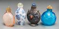 Asian:Chinese, Four Chinese Silver, Porcelain, and Glass Snuff Bottles, QingDynasty and later. 2-3/4 inches high (7.0 cm) (tallest, porcel...(Total: 4 Items)