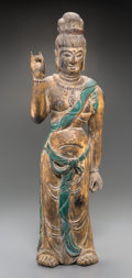 Asian:Chinese, A Southeast Asian Carved Giltwood Standing Buddha Figure. 32-1/2inches high (82.6 cm). ...