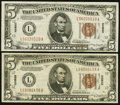 Small Size:World War II Emergency Notes, Fr. 2302 $5 1934A Hawaii Federal Reserve Note. Very Fine. Two Examples.. ... (Total: 2 notes)